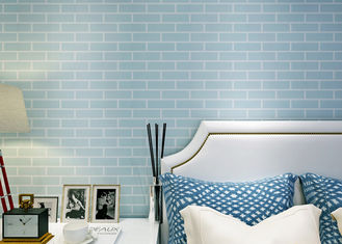 Голубое пре- наклеенное не сплетенное заволакивание стены собственной личности слипчивое/обои кирпича 3Д, стандарт КЭ