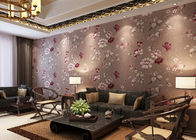 Luxury Coffee Color Country Vinyl Wallpaper With Floral Pattern for Living Room