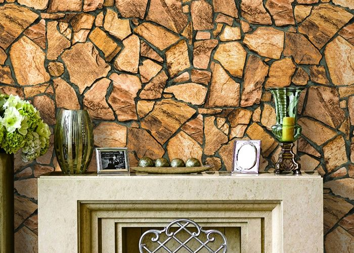 3D Effect Stone Pattern Durable Popular Wallpaper For House Wall With Pvc Material