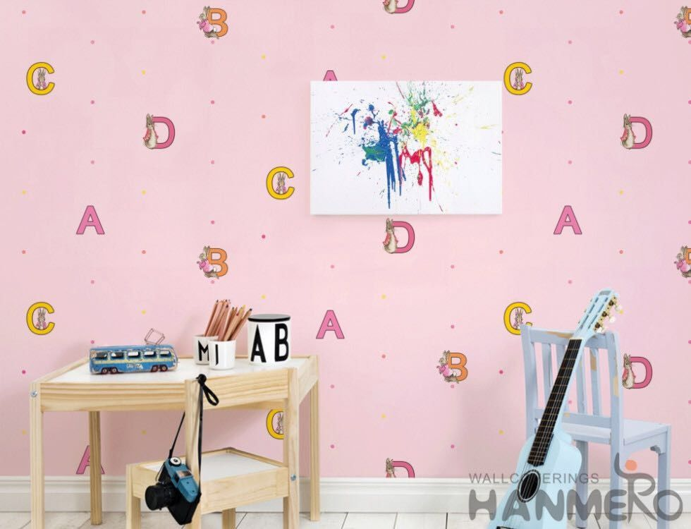 Modern English Letters Kids Bedroom Wallpaper Pink Color Wallcovering